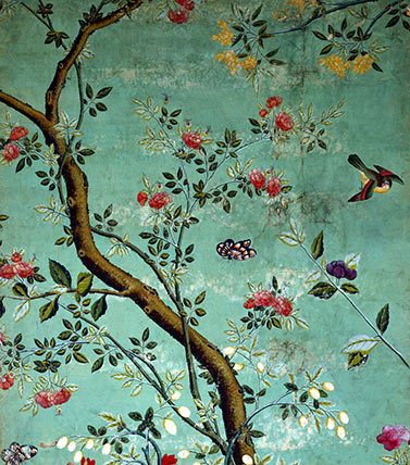 Chinese Wallpaper With Flowering Shrubs And Bees Custom Print