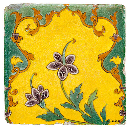 Mughal Tile With Arabesque Form And Flowers Custom Print